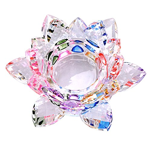 OwnMy 4.5 Inch Crystal Lotus Candle Tealight Holder, Glass Candle Lamps Holder Night Light Candlestick with Gift Box for Altar windowsill Home Decor Christmas Wedding Party (Rainbow)