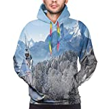 Hlcenng Men's Hoodies Sweatershirt, Snowy Bavaran Alps with Maria Gern with Famous Watzmann Massif Scenes from Germany (L)