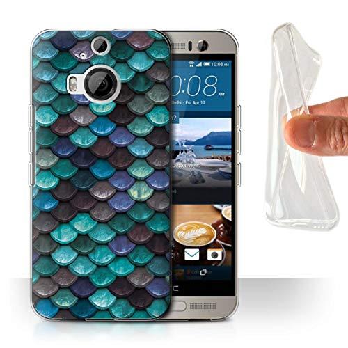 Stuff4® Gel TPU Hülle/Case für HTC One M9+/Plus/Wasserblau Muster/Aquarell Meerjungfrau Skalen Kollektion