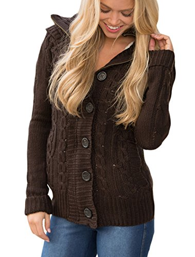 Sidefeel Women Hooded Knit Cardigans Button Cable Sweater Coat XX-Large Brown