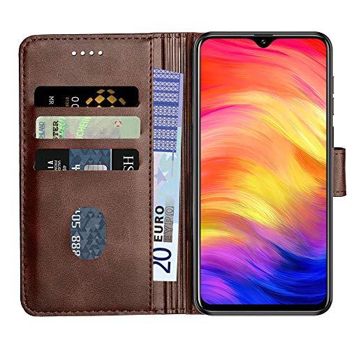 Baiyian Ledertasche Brieftasche Schutzhülle Flip Hülle kompatibel mit Ulefone Note 7 (2019) / 7P, Braun