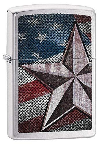 Zippo US Army étoile Coupe-Vent léger, Homme, Retro Star, Chrome brossé