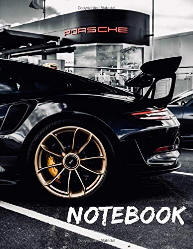 Black Porsche Notebook: Wide Ruled Notebook 120 pages 8.5x11