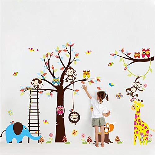 WJJW Das Kinderzimmer ist mit 1213 Wandstickern von großen Bäumen und Tieren dekoriert.Eule Zoo Karikatur Kinderheim Decal Wandmalerei