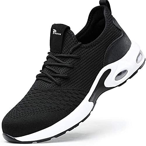 Zapatos de Seguridad con Punta de Acero para Hombre Mujer - Cómodos Ligeros y Transpirables (Negro 708,Taille 45)