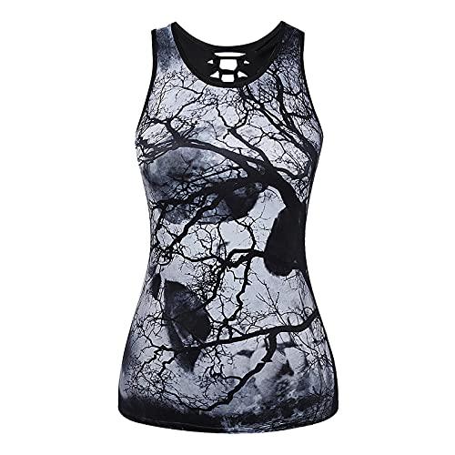 XOXSION Camiseta de verano para mujer, parte superior sin mangas, cuello redondo, vendaje de esqueleto gótico, estampado hueco, chaleco, blusa, túnica, camis A Plata. M