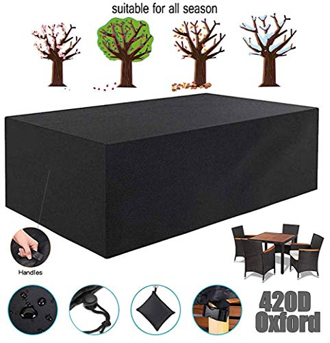 ZHAONI Waterproof Patio Furniture Set Covers, Rectangular Table Cover, Fire Pit Cover, 420D Oxford Fabric Snow Dust Wind Proof, Anti-UV Outdoor Furniture Cover,170x94x70cm/6x3x2ft