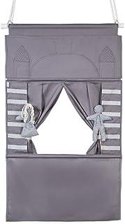 Théâtre de marionnettes Punch and Judy Cadre de Porte pour Enfants 2X Figures | Bois et Coton Design Minimaliste | théâtre...