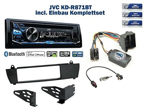 Autoradio Einbauset *Schwarz* geeignet für BMW X3 E83 (ohne Navi) inkl. JVC KD-R871BT und Lenkrad Fernbedienung Adapter