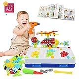 LEADSTAR Jeu Mosaique Enfant, 3D Jeu de Construction, Perceuse Electrique Magique, Educatif Cadeau Montessori 3 Ans pour...