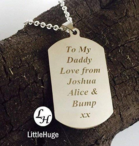 Personalised father dad dadd Gift man Valentine lover keepsake Heart dog tag & Male Valentine Gifts: Amazon.co.uk