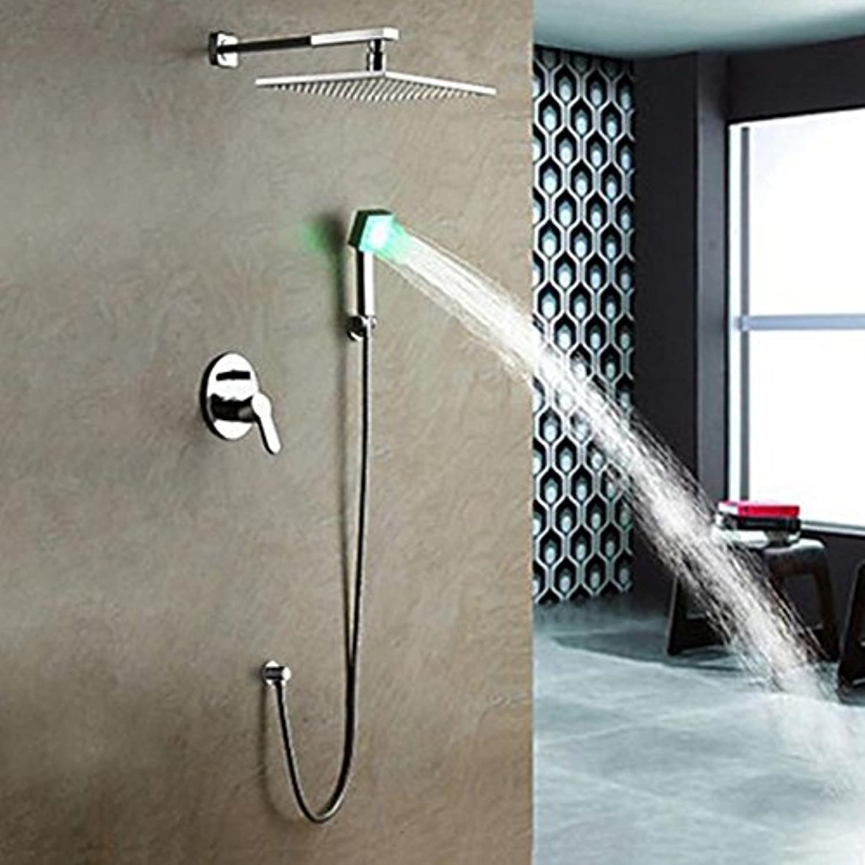ZHFC Duscharmatur Stilvoll und langlebig Energiesparend Brauseset ganz aus Bronze Familienbadausstattung Top Dusche