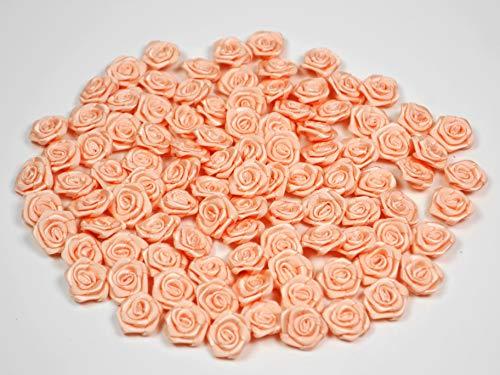 Rosen 15 mm x 100 Stück Satinrosen Aufnäher Deko Blumen Röschen zum Basteln Haarschmuck kleine Rosenköpfe Farbe: apricot 714