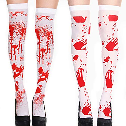 2 Pairs Halloween Bloody Stained Stockings High Long Over Knee Cosplay Socks Festival Stockings Halloween Party Costume Decoration for Women girls