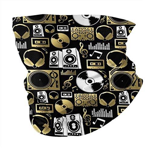 gfhfdjhf Discjockey Pattern Dj Musik Vinyl Plattenspieler Varietät Schal Gesichtsmaske Halswärmer im Freien Kopftuch Schal Hals Gamasche Bandanas für Männer und Frauen