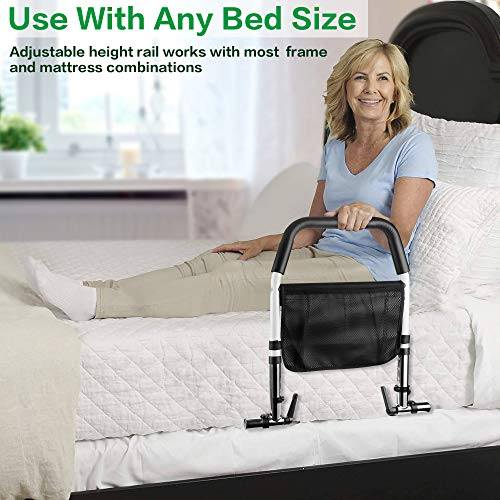 HEIHEI Bed Rails for Elderly Adults, Medical Bedrail Assist Bar with Storage Pocket for Seniors, Height Adjustable Safety Hand Bed Rail for Adults Getting in and Out of Bed