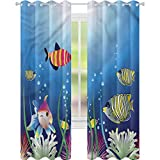 YUAZHOQI Cortina opaca para acuarios o peces trópicos algas marinas, cortinas opacas para dormitorio de 132 x 213 cm (2 paneles)