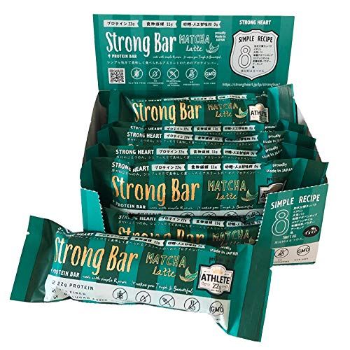 Strong Bar (ストロングバー/マッチャラテ) プロテインバー プロテイン20g 砂糖不使用 食物繊維10g 原材料たったの8つ シンプル&ナチュラル処方 国産 (12本入り)