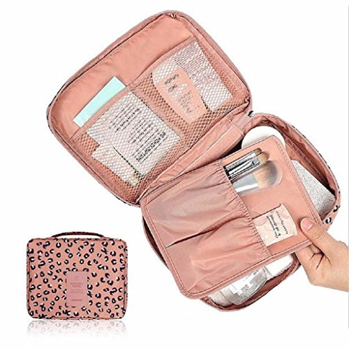 Ouneed® Kulturtaschen , Pocket Trip freie kosmetische Verfassungs Beutel Kultur Travel Kit Organizer Leopard (Rosa)