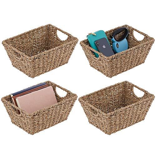 mDesign Juego de 4 cestas trenzadas con asas – Prácticas cestas organizadoras de junco marino para artículos del hogar – Organizador de estantes para salón, dormitorio, baño o pasillo – marrón claro