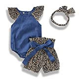 Infant Baby Girls Denim Outfits Leopard Flutter Sleeve Romper Shorts Headband 3Pcs Summer Set (6-12 Months, Navy Blue # Leopard)
