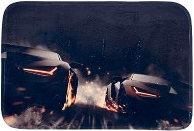 EGGDIOQ Doormats Racing Car at Night Custom Print Bathroom Mat Waterproof Fabric Kitchen Entrance Rug, 23.6 x 15.7in