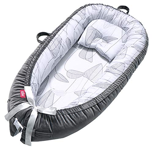 EIH Baby Nest,Baby Lounger Co-Sleeping Baby Bassinet for Bed Newborn Lounger 100% Soft Cotton Breathable and Portable Crib with Pillow Perfect for Traveling and Napping (Leave)