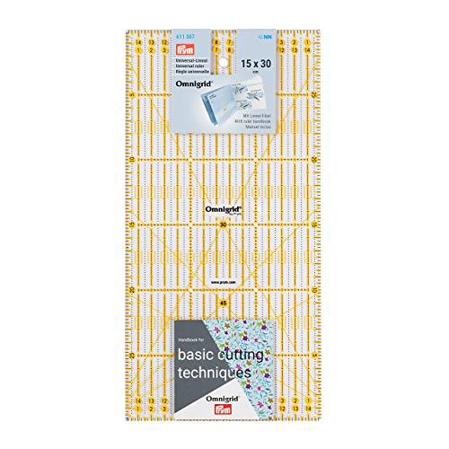 Prym Universal 15 x 30 cm Omnigrid Lineal, Kunststoff, transparent