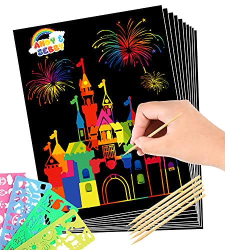 Andy & Sebby Scratch Paper - A Perfect Outfit for Your Up-Growing Artist, Large Rainbow Scratch Art...