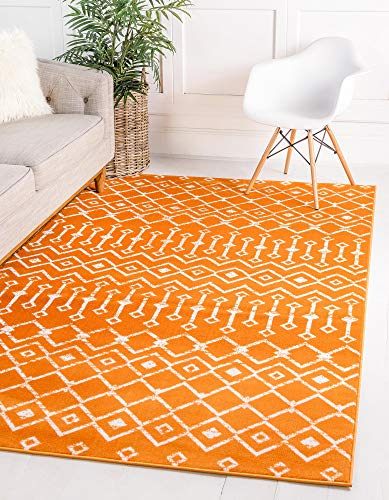 Unique Loom Moroccan Trellis Collection Modern Geometric Transitional Orange Area Rug (7' 0 x 10' 0)