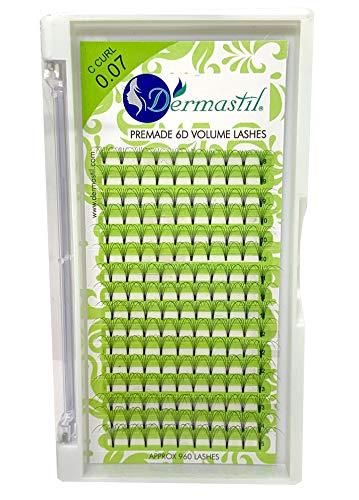 Bouquet Extension De Cils Volume Russe 6D Premade Courbure C Curl Epaisseur 0,07 mm 160 bouquets prêts à l'emploi 16 lignes box by Dermastil (15 mm)