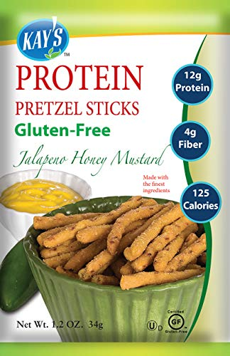 Kay's Naturals Protein Pretzel Sticks, Jalapeno Honey Mustard, Gluten-Free, Low Fat, Diabetes Friendly All Natural Flavorings, 1.2 Ounce (Pack of 60)