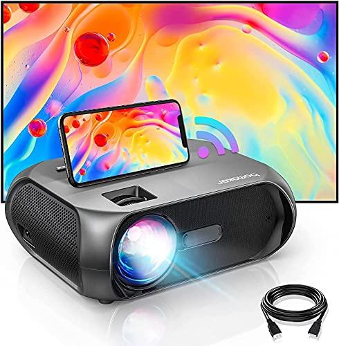 BOMAKER WiFi Beamer 6500, Mini Projektor unterstützt Native 1080P Full HD, Native 720P Beamer Heimkino für Draußen,kompatibel mit iOS/ Android/ TV Stick/PS4/ PC/ HDMI/ USB