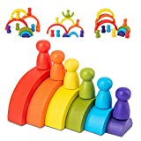 Jsdoin 12 Piezas de Juguetes apilables de Madera para niños pequeños Rainbow Stacker Juguetes de construcción Color Cognitivo Set de Bloques de Madera Arco Iris Peg Muñecas Juguetes educativos