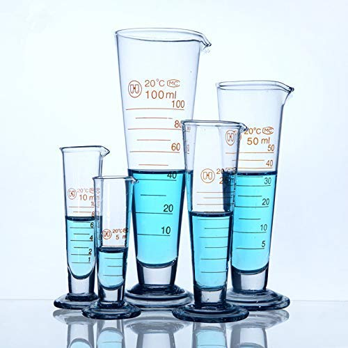 YYSDH 5-2000Ml Professionelle Lab Graduiert Messbecher Glas Konische Becher Mit Ausguss Labormessglas Boro 3.3 Hitzebeständige Verdicken Gläser,500ml