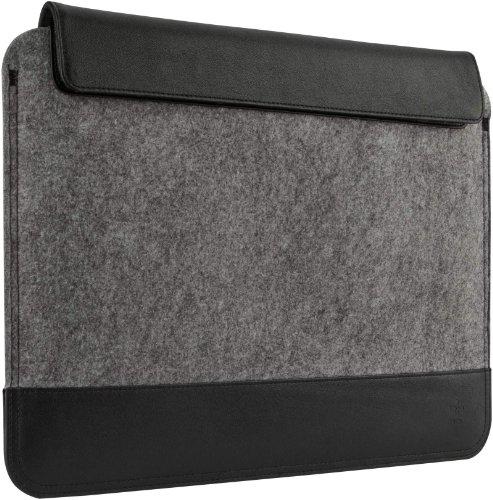 Belkin Wollfilz Schutzhulle mit Lederelementen geeignet fur Notebooks bis 33 cm 13 Zoll grau