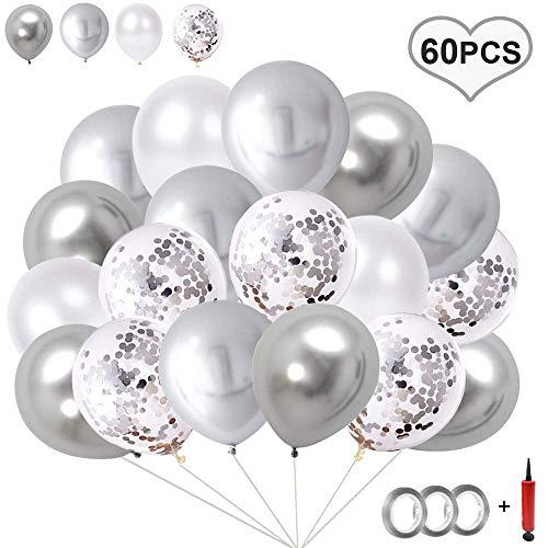Flow.month 60 Stück Luftballons Rose Gold,Rose Gold Konfetti Ballon Premium Latex Glitter Ballons für Hochzeit und Geburtstag, Halloween, Weihnachten,Baby-Duschen,Graduierung, Valentinstag(Silber)