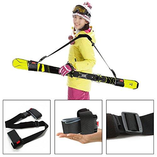 Mounchain Ski Tragegurt, Nylon Ski Schultergurt mit gepolstertem Magic Sticker Einstellbares Skizubehör für Komfort und Sicherheit