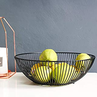 Sooyee 11 Inch Metal Wire Fruit Basket Black,Large Round Storage Baskets for Bread,Fruit,Snacks,Candy,Households Items.Fashion Fruit Bowl Decorate Living Room, Kitchen, Countertop