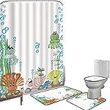 Duschvorhang Set Badezimmerzubehör Teppich Qualle Badematte Contour Teppich Teppichbezug Aquarium mit Muschel-Krake entsteint Wasser-Blasen-lustige Karikatur-Illustration,blaues Grün-Gelb Rutschfest w