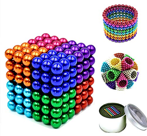 MICOSBVX 5mm Fidget Gadget Toys Rare Earth Magnet Desk Toy Games Magnetic Beads Stress Relief Toys for Adults (Multicolour-8)