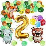 FORMIZON Selva Fiesta de Cumpleaños Decoracion, Globos Animales Cumpleaños, Globos de Criaturas del Bosque, Fiesta de cumpleaños Feliz, Globos de Latex, Decoracion Cumpleaños Niño 3 Años (2 año)