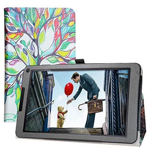 LFDZ Cover Fusion5 104Bv2,Slim Ultra Pelle Sottile e Leggera Cover Case Custodia per 10.1' Fusion5 104Bv2 / 104Bv2 Plus Tablet(Non Compatibile Fusion5 104Bv2 PRO),Love Tree