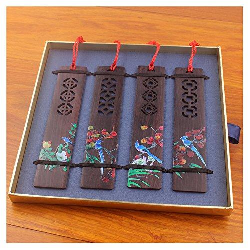 Bladwijzer - Houten Handgemaakte Gekleurde Tekening Natuurlijk Hout Bladwijzers Voor Bloem En Vogel - Set Van 4 Bladwijzers (Inclusief Geschenkdoos)