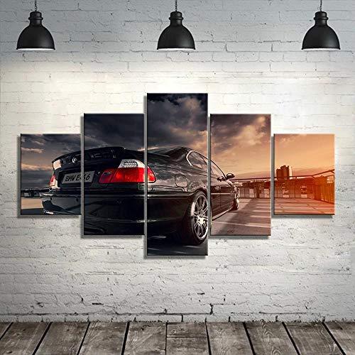 yuanjun 3D Leinwanddrucke,Modulare Wandkunst Wandaufkleber,5 Teiliges Wandbild,Größe 150 X 80 cm Leinwandbild, Wandbilder XXL E46 Black Sports Car Canvas