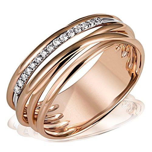 Goldmaid Damen-Ring Gold-Farbspiel 585 Rotgold teilrhodiniert Diamant (0.11 ct) Rundschliff weiß Gr. 54 (17.2) - Pa R06210RG54 Verlobungsring Diamantring