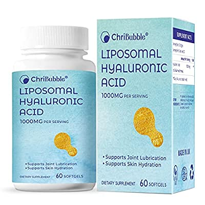 Liposomal Hyaluronic Acid Supplements for Women,Men 1000mg per Serving-Pure Hyaluronic Acid Capsules Support for Skin Hydration,Dermal Repair Complex,Joint Lubrication,60 Softgels (Pack of 1)