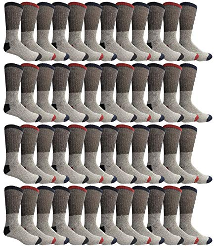 Yacht & Smith Mens Womens & Kids Thermal Socks, Bulk Pack Thick Warm Winter Boot Extreme Weather Socks, by SOCKS'NBULK (48 Pairs (Mens) 10-13)