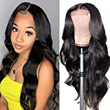 Body Wave Lace Front Human Hair Wigs for Black Women Human Hair Wigs 4x4 Lace Closure Wigs Human Hair Pre Plucked with Baby Hair 150% Density Natural Color(20 inch, Body Wave Wig)