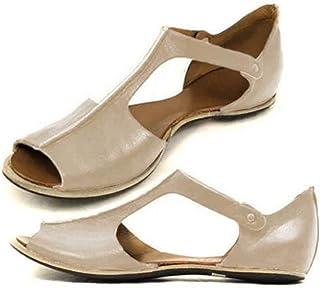 Femmes Sandales Plates Confortables Été Vintage Cuir Chic Romaines Grande Taille Chaussures De Bouche De Poisson Bout Ouve...